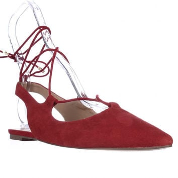 Franco Sarto Snap Pointed Toe Ankle Tie Ballet Flats - Red