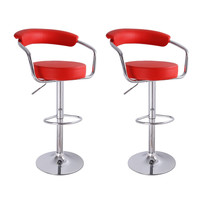 Unbyn Red Swivel Bar Stools (Set of two)