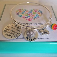 Pet Memorial Forever in my Heart Cat or Dog  Bangle Bracelet Pet Loss Sympathy