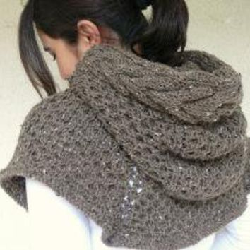 Brown Tweed Poncho With Cable Knit Hood by afra on Etsy