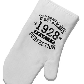 90th Birthday Vintage Birth Year 1928 White Printed Fabric Oven Mitt by TooLoud