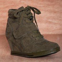 Bucco Same Old Song Lace Up Faux Suede Sneaker Wedges Nicoleed - Olive
