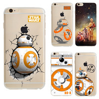 Tpu Transparent Droid Robot Star Wars Pattern Cases Cover For Iphone 6 6s 4.7 Inch Case Cartoon Pattern Design Back Cover