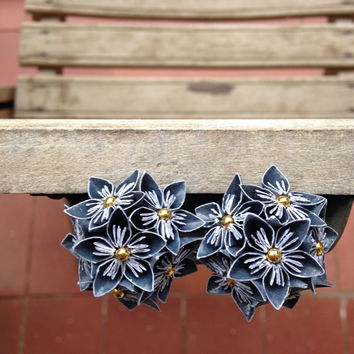 MINI ORIGAMI EARRINGS - Navy Blue Patterned Multi Flower Earrings - Bridesmaids, Wedding fashion, Handmade, Floral Jewelry, Gifts for Her