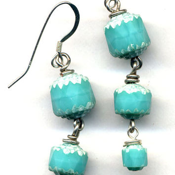 Turquoise and Silver White  Earrings. Sterling silver ear wire. Mint Earrings.Handmade Jewelry by AnnaArt72