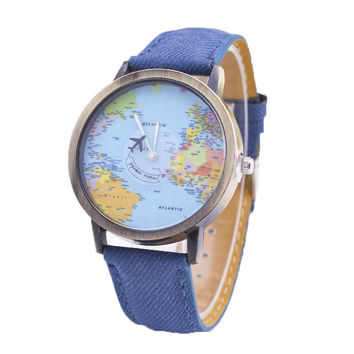 New Style Watch Women Hot Sale Classic Fabric The Fashion Casual Quartz Watch Relogio Plane Second Hand Map pattern Reloj