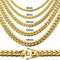 "Men's 10mm Steel 14k Gold Filled 18"" Miami Cuban Chain"