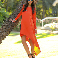 Orange Long Sleeves Chiffon High Low Dress