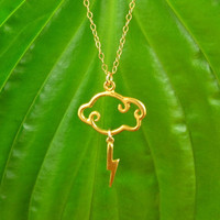 Lightning Cloud Necklace, 24K Gold Vermeil, 14K Gold Filled Chain, Pretty, Lovely Jewelry
