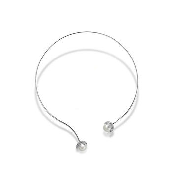 White Gold Plated With Imitation Pearls Cubic Zirconia Choker Collar Torques Necklace