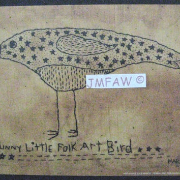 "Primitive Folk Art Print- ""Funny Little Folk Art Bird""---Copyright Lithograph Print of Original Handcrafted Stitchery"