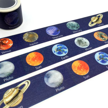 Planet washi tape 5M x 3cm SOLAR System Planets WIDE tape planet sticker universe sky earth venus mars outer space planner sticker gift