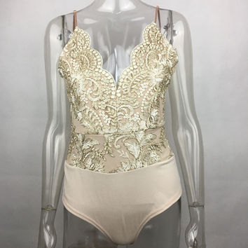 Beige Floral Embroidered Strappy Bodysuit