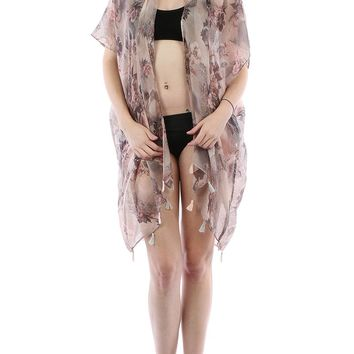 Gray Floral Doily Print Sheer Cover Up Poncho