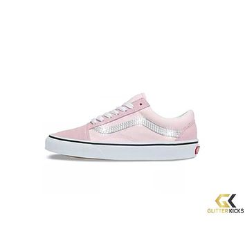 Womens Vans Old Skool + Crystals - Blushing/True White