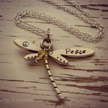 PEACE dragonfly metal stamped necklace - pewter- you choose crystal color - with silver plated chain