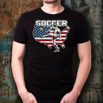 Soccer Player Kicker American Flag T-Shirt Great Gift For Fans of Rugby, Soccer, or Futbol Players