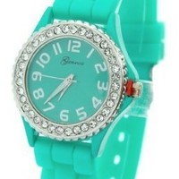 Geneva Women's Green Silicone Designer Watch with Baguette Stones Bezel