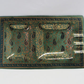 Vintage Ashtray Green Glass Blue Paisley