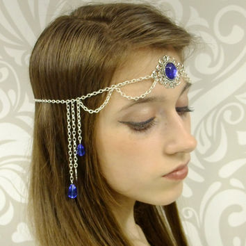 Cobalt Blue and Silver Circlet, Blue and Silver Headpiece, Water Fairy Circlet, Bridal Circlet, Renaissance Head Piece, Larp