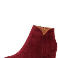 Notch Your Average Wine Red High Heel Ankle Boots