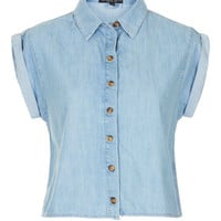 Petite Short Sleeve Crop Shirt - Petite - Clothing - Topshop USA