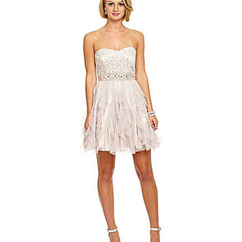 B. Darlin Lace Bodice Corkscrew Party Dress - Nude/Taupe
