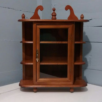 Curio Cabinet, Wall Mount  or Table Top, Vintage, Wood