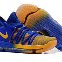 """Nike KD 10 """"Warriors Away"""" Blue Yellow For Sale"""