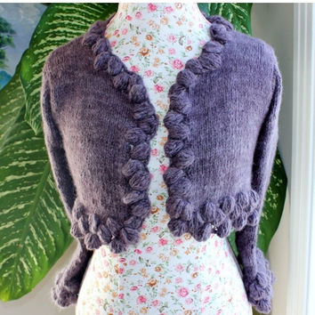 Ready to ship - 100 Percent Angora Rabbit Dusky Mauve Handmade knit crop Bolero Size S-M