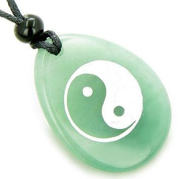Lucky Ying Yang Balance Money Amulet Word Stone Necklace