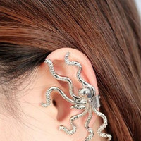 Single octopus ear cuff fit for left ear earring need no ear hole ear folder ear Stud trending gifts