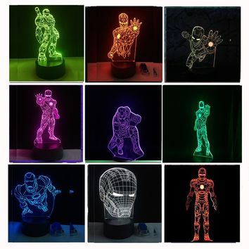 8 Versions 3D LED Iron Man Bulbing Night Lights illusion Colorful Gradient Bedroom Desk Lamp Boys Xmas Festival Birthday Gifts