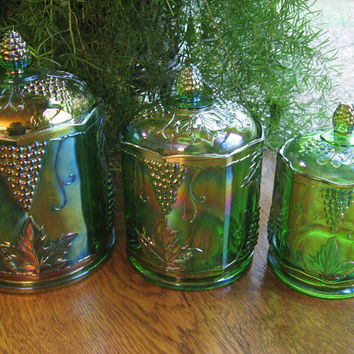 Green Carnival Glass Canister Set by Indiana Glass, 1970s Harvest Pattern Glass