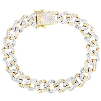 Two Tone 11mm Iced Out Lock Miami Cuban Bracelet