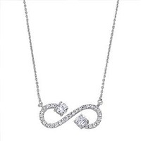 Sterling Silver CZ Open Infinity Necklace