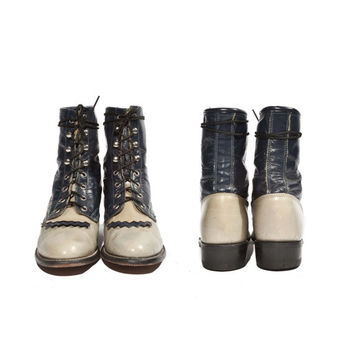 Vintage Laredo Ankle Boots Lace Up Roper Style Two Tone Denim Blue and Grey for a Women's Size 7
