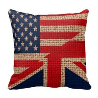 Cool usa union jack flags burlap texture effects throw pillows
