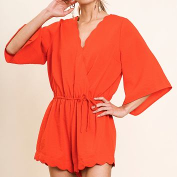 Women's Bell Sleeve Scalloped Romper with Faux Wrap Front