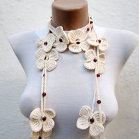 Hand crochet Lariat Scarf  Cream Flower Lariat Scarf Long Necklace Winter Accessories