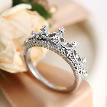 925 Silver Princess Crown Ring  -03322