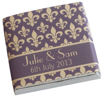 100 Personalised Chocolate Wedding Favours - Fleur de Lys