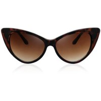 BIRCH's Chic Retro Vintage Mod Style New Cat Eye High Pointed Fashion Sunglasses (Tortoise)