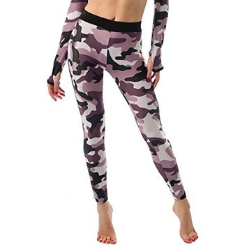 Encounter Womens Camouflage Print Yoga Leggings Workout Full Length Pants