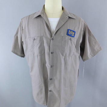 Miller Beer / Delivery Man / Gray XL Short Sleeve / Work Shirt / Lite Beer  / Beer Patch / Patches
