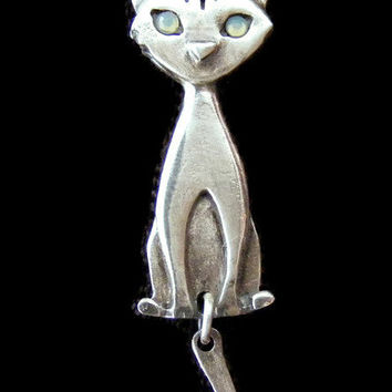 Sterling Silver cat necklace, cat pendant, cat jewelry, whimsical jewelry, animal necklace, cat lover gift