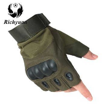 Richyuan Military Usa Special Forces Tactical Gloves Fighting Combat Slip-resistant Black Half Finger Gloves Fitness Leather Men