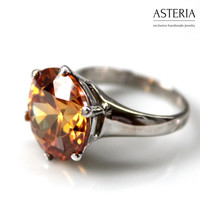 Orange ring - Solitaire ring - Cocktail ring - Sparkle ring - Fashion ring - 925 silver ring - CZ ring