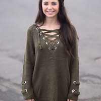 Path Less Traveled Sweater- Dark Olive