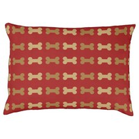 Red and Gold Bones Pet Bed